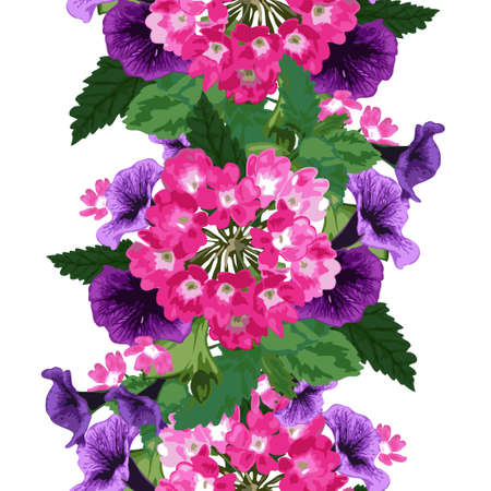 petunia: Elegant seamless pattern with verbena and petunia flowers in watercolor style, design elements. Floral pattern for wedding invitations, greeting cards, scrapbooking, print, gift wrap, manufacturing