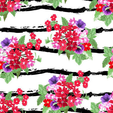petunia: Elegant seamless pattern with decorative verbena and petunia flowers in watercolor style, design elements. Can be used for invitations, cards, scrapbooking, print, manufacturing. Stripe background Illustration