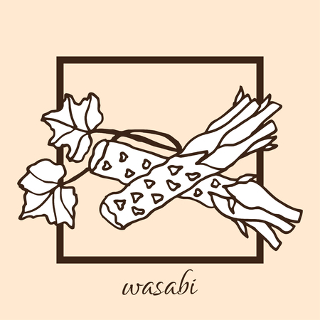 wasabi: Hand drawn decorative wasabi, design elements. Can be used for cards, invitations, gift wrap, print, scrapbooking, food menu, labels. Vegetable background. Food theme