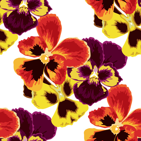 pansy: Elegant seamless pattern with hand drawn pansy flowers, design elements. Can be used for wedding invitations, greeting cards, scrapbooking, print, gift wrap, manufacturing. All elements are editable Illustration