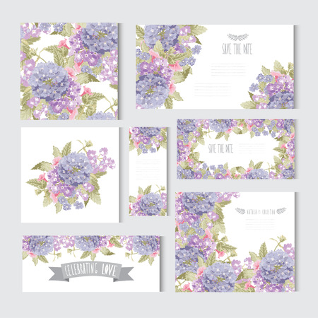 wedding  art: Elegant cards with decorative flowers, design elements. Can be used for wedding, baby shower, mothers day, valentines day, birthday cards, invitations. All elements can be edited, color can be changed