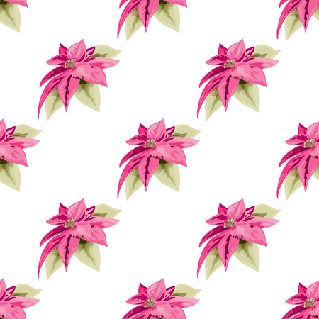 Elegant seamless pattern with hand drawn poinsettia flowers. Can be used for winter holiday invitations, greeting cards, scrapbooking, print, gift wrap, manufacturing. All elements are editable