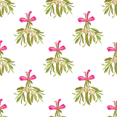 25 december: Elegant seamless pattern with hand drawn mistletoe. Can be used for winter holiday invitations, greeting cards, scrapbooking, print, gift wrap, manufacturing. All elements are editable