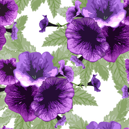 Elegant seamless pattern with hand drawn petunia flowers, design elements. Can be used for wedding invitations, greeting cards, scrapbooking, print, gift wrap, manufacturing. All elements are editable Illustration