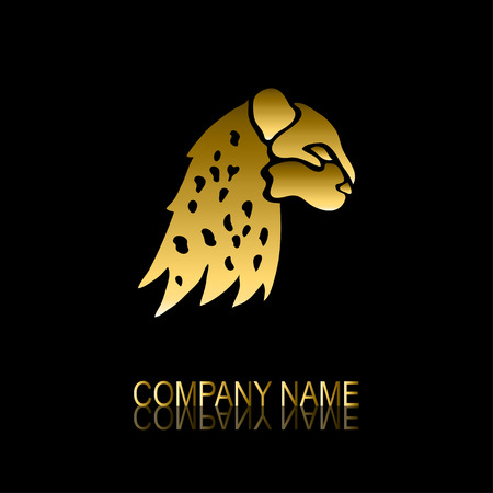 be the identity: Abstract golden leopard signsymbol, design element. Can be used for corporate identity, company emblem, jewelry shape, print, labels, cards, manufacturing. Animal theme