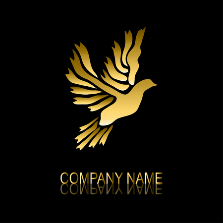 be the identity: Abstract golden dove signsymbol, design element. Can be used for corporate identity, company emblem, jewelry shape, print, labels, cards, manufacturing. Bird theme Illustration
