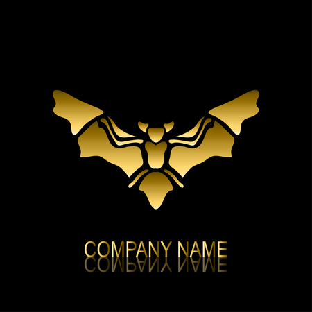 be the identity: Abstract golden bat signsymbol, design element. Can be used for corporate identity, company emblem, jewelry shape, print, labels, cards, manufacturing. Animal theme