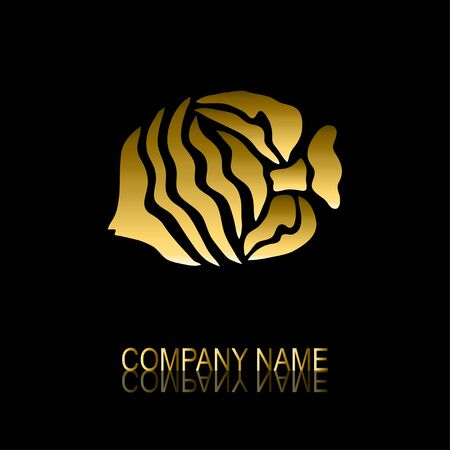 be the identity: Abstract golden fish signsymbol, design element. Can be used for corporate identity, company emblem, jewelry shape, print, labels, cards, manufacturing. Fish theme
