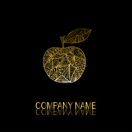 golden apple: Abstract golden apple signsymbol, design element. Can be used for corporate identity, company emblem, jewelry shape, print, labels, cards, manufacturing. Fruit theme