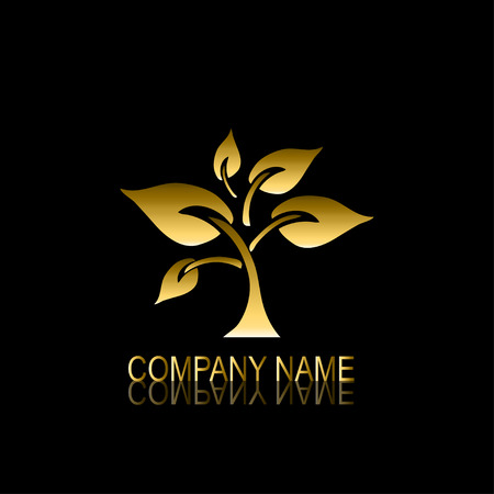 be the identity: Abstract golden tree signsymbol, design element. Can be used for corporate identity, company emblem, jewelry shape, print, labels, cards, manufacturing. Tree theme