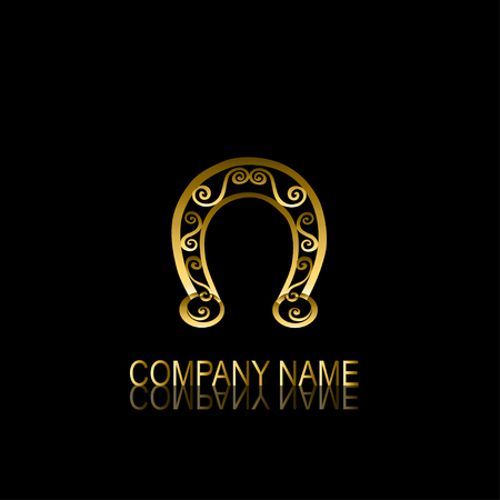 be the identity: Abstract golden horseshoe signsymbol, design element. Can be used for corporate identity, company emblem, jewelry shape, print, labels, cards, manufacturing