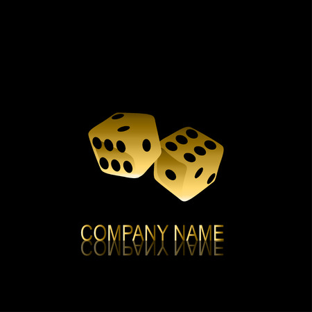 be the identity: Abstract golden dices signsymbol, design element. Can be used for corporate identity, company emblem, jewelry shape, print, labels, cards, manufacturing Illustration