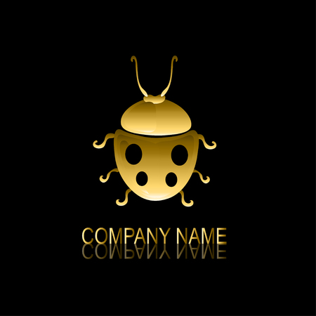 be the identity: Abstract golden ladybug signsymbol, design element. Can be used for corporate identity, company emblem, jewelry shape, print, labels, cards, manufacturing. Insect theme