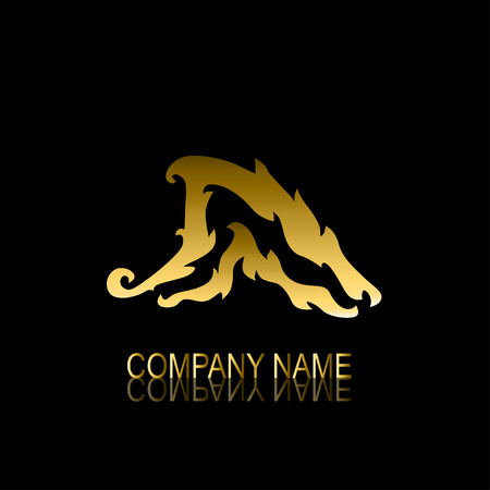 be the identity: Abstract golden wave signsymbol, design element. Can be used for corporate identity, company emblem, jewelry shape, print, labels, cards, manufacturing. Marine theme