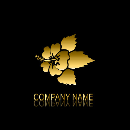be the identity: Abstract golden hibiscus signsymbol, design element. Can be used for corporate identity, company emblem, jewelry shape, print, labels, cards, manufacturing. Floral theme