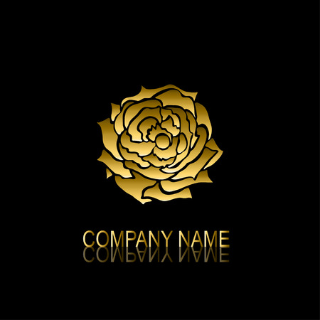 be the identity: Abstract golden rose signsymbol, design element. Can be used for corporate identity, company emblem, jewelry shape, print, labels, cards, manufacturing. Floral theme