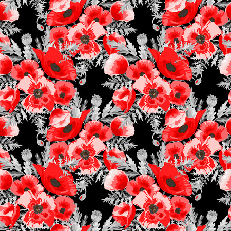 Elegant seamless pattern with decorative poppy flowers in watercolor style, design elements. Floral pattern for wedding invitations, greeting cards, scrapbooking, print, gift wrap, manufacturing