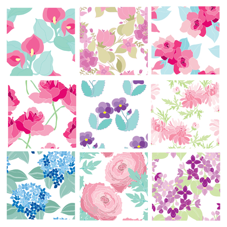 Elegant seamless patterns with hand drawn decorative flowers, design elements. Floral patterns for wedding invitations, greeting cards, scrapbooking, print, gift wrap, manufacturing.