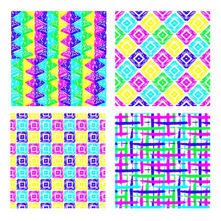 Abstract seamless patterns set, design element. Can be used for invitations, greeting cards, scrapbooking, print, gift wrap, manufacturing. Psychedelic background