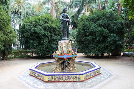 Nimfa del Cantaro Fountain in Malaga City Park, Malaga, Andalusia, Spain Stock Photo