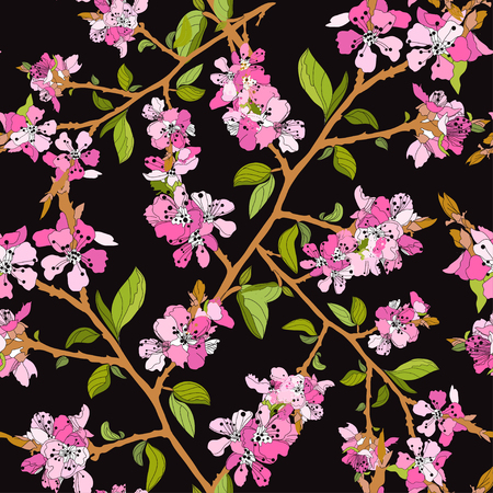 Elegant seamless pattern with hand drawn decorative cherry blossom flowers, design elements. Illustration