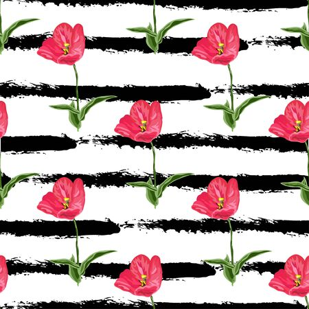 Flowers, design elements. Can be used for invitations, greeting cards, scrapbooking, print, gift wrap, manufacturing. Stripe background. Editable Illustration