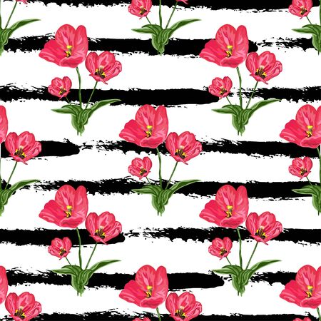 Beautiful seamless pattern with hand drawn decorative flowers, design elements. Can be used for invitations, greeting cards, scrapbooking, print, gift wrap, manufacturing. Stripe background. Editable