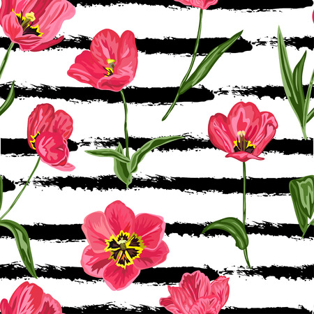Beautiful decorative tulip flowers, design elements. Can be used for invitations, greeting cards, scrapbooking, print, gift wrap, manufacturing. Stripe background