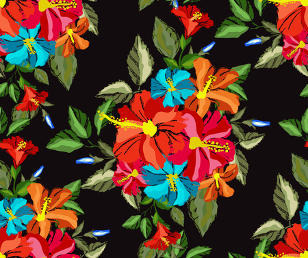 Elegant seamless pattern with tropical hibiscus flowers and leaves, design element. Floral pattern for invitations, cards, scrapbooking, print, wallpapers, web backgrounds, manufacturing. Editable Illustration