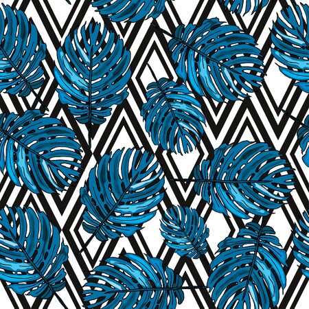 Elegant seamless pattern with tropical leaves, design element. Floral pattern for invitations, cards, scrapbooking, print, wallpapers, web backgrounds, manufacturing. Editable