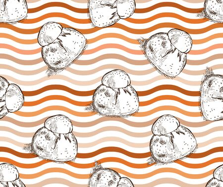 Elegant seamless pattern with hand drawn brioches, design element. Can be used for food invitations, cards, scrapbooking, print, gift wrap, manufacturing, cafe, bakery, restaurant menu.