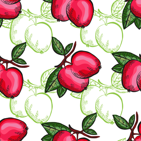 Elegant seamless pattern with hand drawn decorative apple fruits, design elements. Can be used for invitations, cards, scrapbooking, print, gift wrap, manufacturing. Food background. Editable