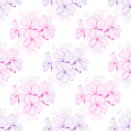 Elegant seamless pattern with hand drawn decorative geranium flowers, design elements. Floral pattern for wedding invitations, greeting cards, wallpapers, scrapbooking, print, gift wrap, manufacturing