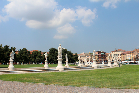 July 29, 2016, Padua, Northern Italy. View of statues in Prato della Valle, the largest square in Italy. Popular touristic european destination. Padua city view