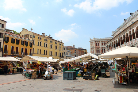 July 29, 2016, Padua, Northern Italy. Palazzo della Ragione and Piazza delle Erbe(fruits and vegetables market). Popular touristic european destination. Padua city view