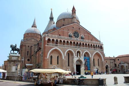July 29, 2016, Padua, Northern Italy. The Pontifical Basilica of Saint Anthony of Padua and Equestrian Statue of Gattamelata. Popular touristic european destination. Padua city view