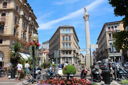 July 26, 2016, Padua, Northern Italy. Piazza Garibaldi (Garibaldi Square) with Madonna dei Noli column. Popular touristic european destination. Padua city view Editorial