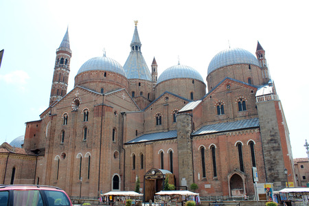 July 29, 2016, Padua, Northern Italy. The Pontifical Basilica of Saint Anthony of Padua. Popular touristic european destination. Padua city view
