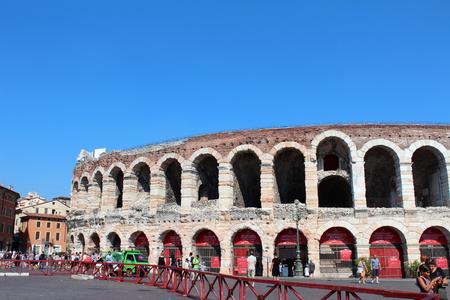 August 3, 2016, Verona, Northern Italy. Verona Arena (Arena di Verona). Popular touristic european destination. Verona city view