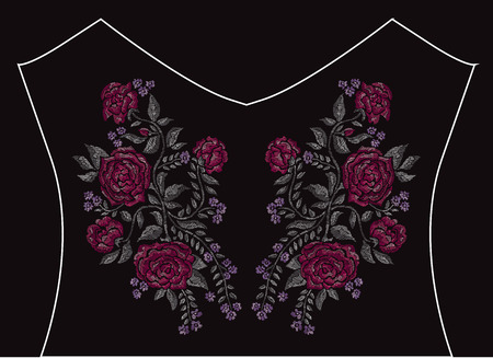 be: Elegant embroidery bouquet with rose flowers, design element. Floral composition can be used for fashion decorations, fabrics, manufacturing. Embroidery decorative flowers Illustration