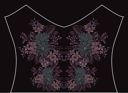 be: Elegant embroidery bouquet with flowers, design element. Floral composition can be used for fashion decorations, fabrics, manufacturing. Embroidery decorative flowers Illustration