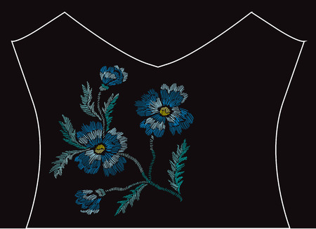 Elegant embroidery bouquet with cornflowers, design element. Floral composition can be used for fashion decorations, fabrics, manufacturing. Embroidery decorative flowers Illustration