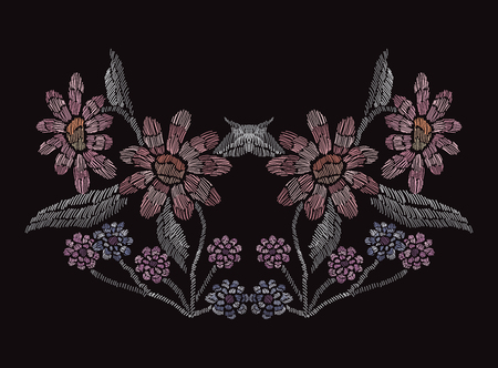 Elegant hand drawn decoration with flowers in embroidery style, design element