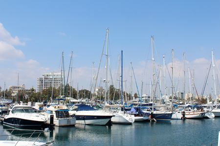March 28, 2017, Larnaca Marina (port) with yachts in Larnaca, Cyprus. Popular touristic european destination. Larnaca city view Editorial