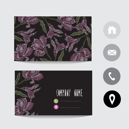 Business card template with lily flowers, design element. Can be used also for greeting cards, banners, invitations, flyers, posters. Decorative flowers. All elements are editable. Embroidery style