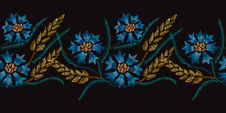 Elegant seamless pattern with hand drawn decorative cornflowers and wheat, design elements. Floral pattern for invitations, cards, wallpapers, print, gift wrap, manufacturing, fabrics.Embroidery style Illustration