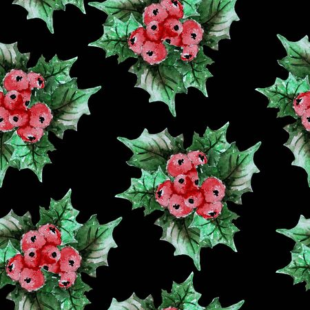 Elegant winter seamless pattern with holly berries, design elements. Can be used for winter holiday invitations, greeting cards, scrapbooking, print, gift wrap, manufacturing