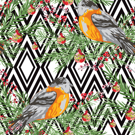 Birds and flowers pattern.
