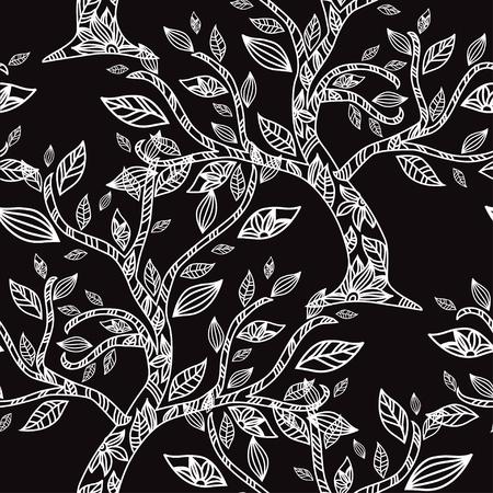Elegant pattern with hand drawn decorative flowers, design elements. Vettoriali