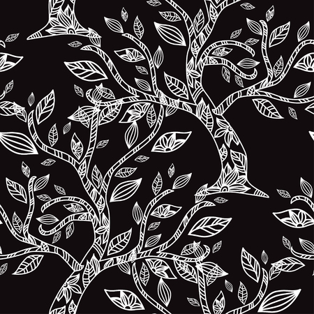 Elegant pattern with hand drawn decorative flowers, design elements. Illustration